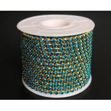 Стразовая лента Blue Zircon (золотая база)